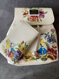 Disney Alice in Wonderland Floral Loungefly Backpack And Wallet Set ~ NWT