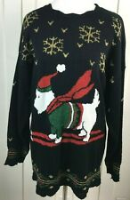 Vtg. Nutcracker Ugly Christmas Sweater FLYING DOG Black Glitter Women Size S