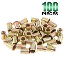 New listing Keadic 100Pcs M8 Metric Zinc Plated Carbon Steel Rivet Nut Flat Head Threaded M8