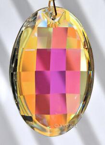 "Asfour 50mm AB coated Matrix Oval Crystal Prism Suncatcher 2"""
