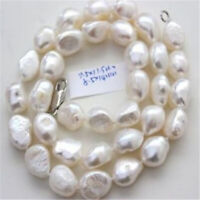 8-10mm natural white baroque pearl necklace 18 inches Cultured Chic Classic