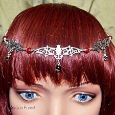 Gothic Bat Headdress - Handmade Goth Jewellery with Ruby and Onyx Gemstone