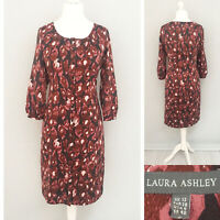 Laura Ashley Shirt Dress 12 Button Down 3/4 Sleeve Burgundy Brown Tunic Formal