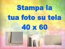 STAMPA LA TUA FOTO SU TELA  40cm X 60cm (TELA CANVAS 230 GR) cor. abete 3cm  2cm