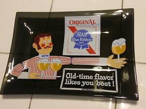 Original Pabst Blue Ribbon Beer Glass Tray OldTime Flavor Likes You Best Tip