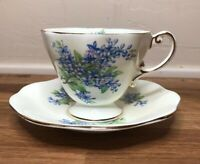 Foley English Bone China Footed Tea Cup & Saucer Blue Flower Sprays V2143