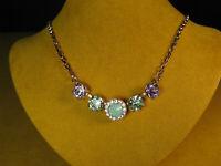 MARIANA NECKLACE SWAROVSKI CRYSTALS PASTEL ROSE GOLD P MOSAIC Multi Green Purple