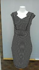Dunnes Dress Size 12 black/white stretch fitted smart chic duchess look stripe.