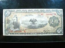 MEXICO VERACRUZ 20 PESOS 1914 SERIE D REVOLUTION WAR SHARP 104# BANK MONEY