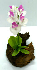 Orchids Artificial Clay Handmade Plants Small Nature Wood Home Desk Office Decor