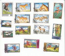 """Briefmarken-Konvolut """"Pferde/Reiter"""", Mongolei"""
