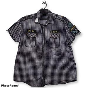 Blac Label Purple Gray Plaid Snap Front Shirt Sz XL Epaulettes Studs Patches
