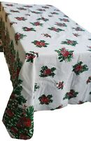Vintage Christmas Tablecloth Ornaments Holly Tree Branches 52.5 x 90 inch MCM