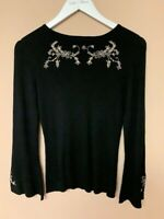 Kaleidoscope Black Ribbed Jumper Top Size 12 New