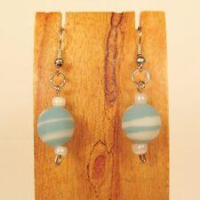 Pastel Blue White Swirl Round Dainty Bead Glass Handmade Drop Dangle Earring