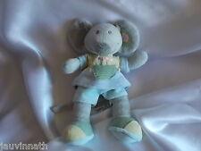 Doudou souris grise, robe bleue, Nicotoy, Blankie/Lovey/Newborn toy