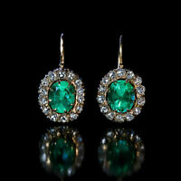 Vintage 2Ct Emerald & Diamond 18K Yellow Gold Finish Solitaire Stud Art Earrings