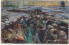 FIGHTING IN FLOODED TRENCHES - Passed By Censor - 1916 World War One postcard