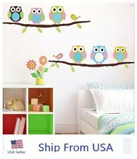 Owl Birds Branch Removable Vinyl Kids Home Decor Mural Wall Stickers Decal USA