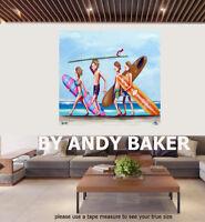 Original art painting print signed Andy Baker Beach Australia surfing waves surf