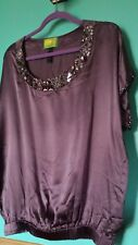 Tracy Porter 100% Silk Purple Jeweled Beaded Oversized Tunic Elastic Drop Waist