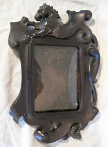 Antique Gothic Revival Resin Figural Picture Frame Sea Serpent or Dragon ca 1900