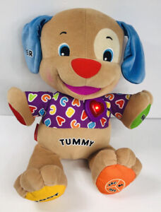Fisher Price Tummy Talking Dog Interactive Educational Learning ABC Stuffed Toy