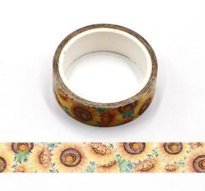 1pcs Roll of Vintage Style Sunflower Floral Washi Decorative Craft Tape UK