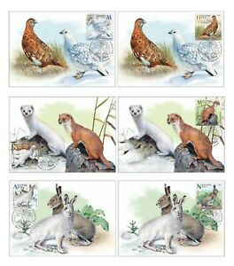 Belarus 2020 Seasonal variations wild animals: hare, weasel, partridge 6 cards