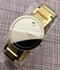 Swiss Movado Sapphire PVD 18K Gold Plated, Mirror Dial, Men's Model # 0607180