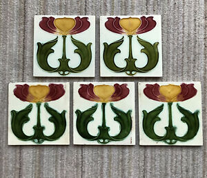 5 Cream Floral Art Nouveau Victorian Embossed Tiles Bright Colourful Striking