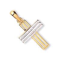 Zweifarbig Gold Kreuzanhänger 9 Karat Gelb Und Weißgold Punziert Britische
