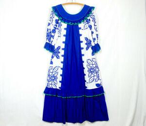 Vtg Mamo Howell Hawaiian MuuMuu L XL Graphic Print Ruffle Cotton Blend Blue NM
