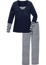 Granatowa, bawełniana piżama, spodnie w paski