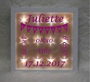 Beleuchteter Bilderrahmen - Wimpelkette - rosa - Geburt - Baby