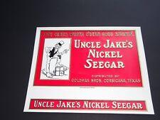 """Uncle Jake's Nickel Seegar Vintage Cigar Box Inside Label Unused 8 1/4 X 6 1/2"""""""