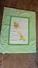 Baby Quilt Blanket Machine Stitched Turtle Theme Green Gingham Polka Dot Backing