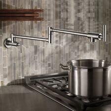 Nickel Brushed Brass Kitchen Faucet Pot Filler Wall Mounted Sink Basin Mixer Tap