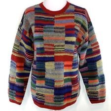 Winona knitted by hand Womens Wool Sweater Crew Neck Multicolor Size M