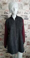 LOVE LABEL Charcoal Burgundy Jacket Coat 25% Wool Size 14 UK