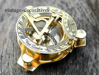 Handmade Marine Working Brass Sundial Compass Collectible Nautical Compass Decor