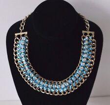 LoveRocks Gem & Blue Turquoise Gold Colour Statement Necklace Jewellery LR15