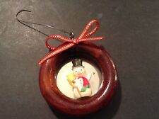Mini Snowman In Wood Wreath With Bow Christmas Seasonal Holiday Ornament