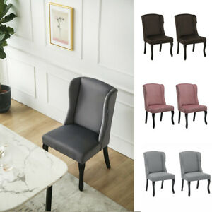 Fabric/Velvet Upholstered Dining Chairs Wooden Leg High Back Lounge Kitchen Seat