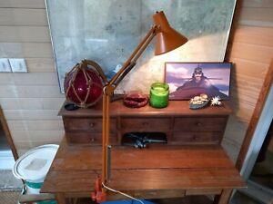 Ancienne Lampe Atelier Design annee 70 Usine Old Lamp Métal Industrielle orange