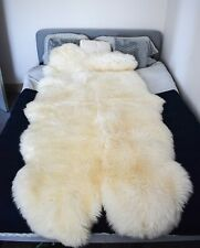 Natural Sheepskin Rug Quad - Soft, Fluffy, Thick & Shaggy Large 4 Pelt Sheepskin