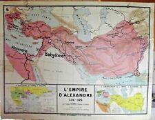 Ancienne Carte Scolaire type Vidal N°3 & 4 le Monde Grec, L'Empire d'Alexandre