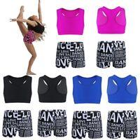 Kid Girls Ballet Gymnastics Leotard Tank Top+Shorts Outfit Dance Gym Workout Set
