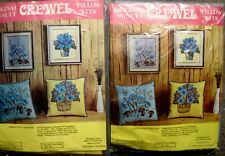2 Vintage Original Minuet Crewel Pillow Kits Blue & Yellow Factory Sealed Kits