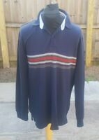 90s Vintage TOMMY HILFIGER Striped Polo Shirt | Large | Rugby Retro Long Sleeve
